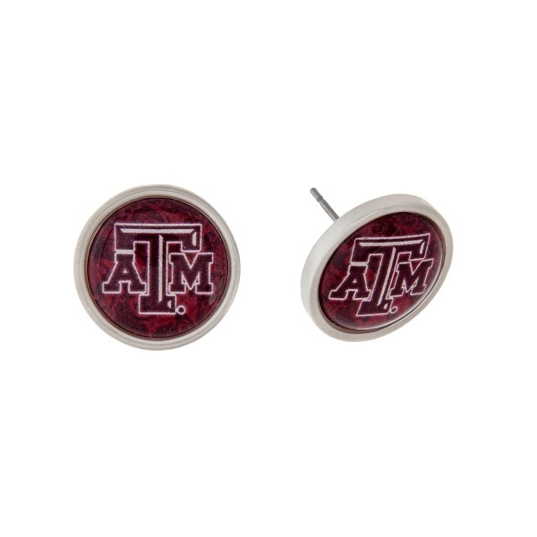 Wholesale silver officially licensed Texas M University stud earrings exclusive