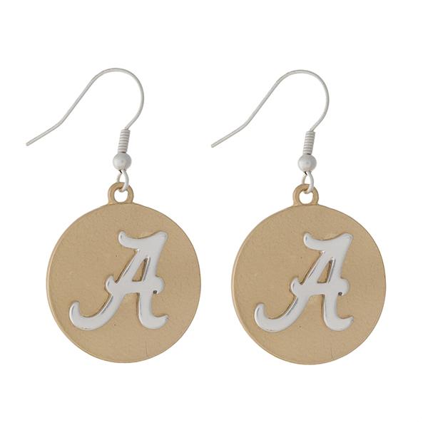 Wholesale officially licensed two fishhook earrings University Alabama logo diam