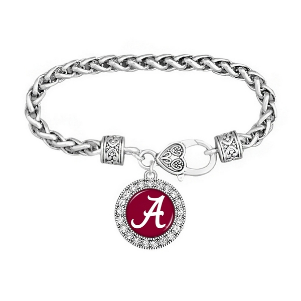 Wholesale silver officially licensed University Alabama braided rope filigree he