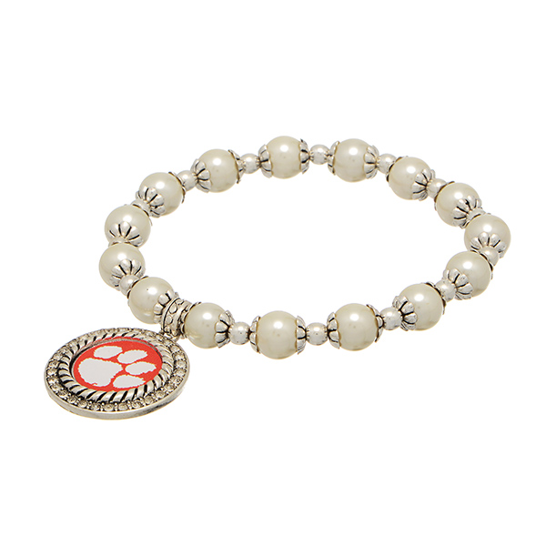 Wholesale officially licensed pearl bead silver stretch bracelet silver medallio