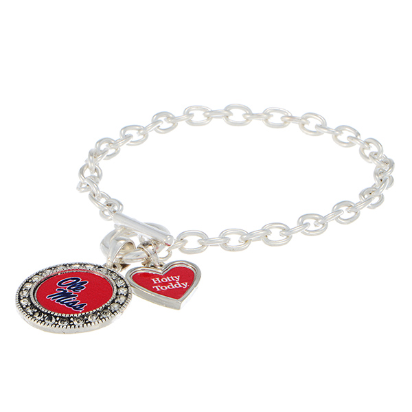 Wholesale silver officially licensed toggle bracelet Ole Miss logo clear crystal