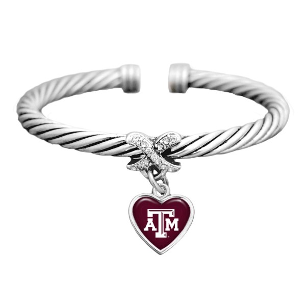Wholesale silver officially licensed cuff bracelet heart Texas M logo clear crys
