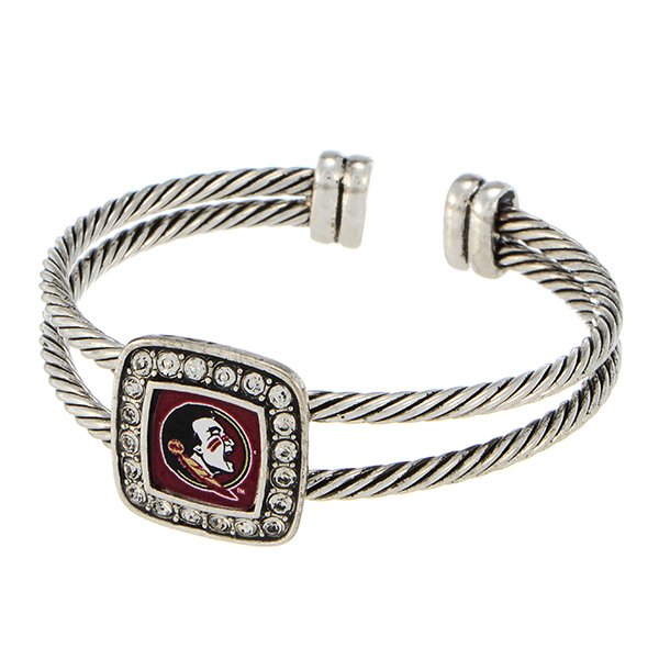 Wholesale silver officially licensed cuff bracelet Florida State logo clear crys