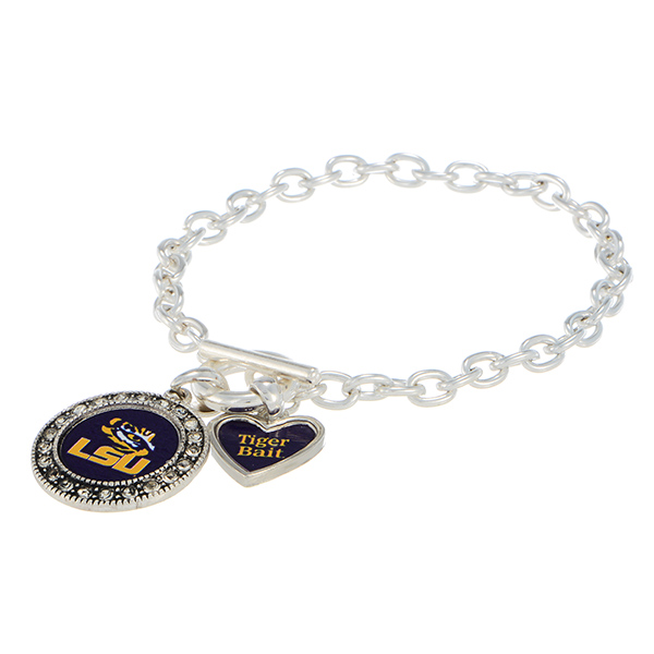 Wholesale silver officially licensed toggle bracelet LSU logo clear crystal rhin