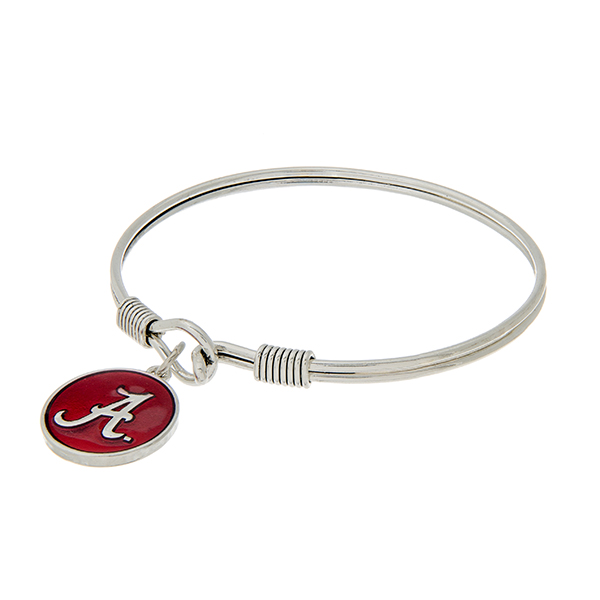 Wholesale silver latch bangle bracelet crimson officially licensed University Al
