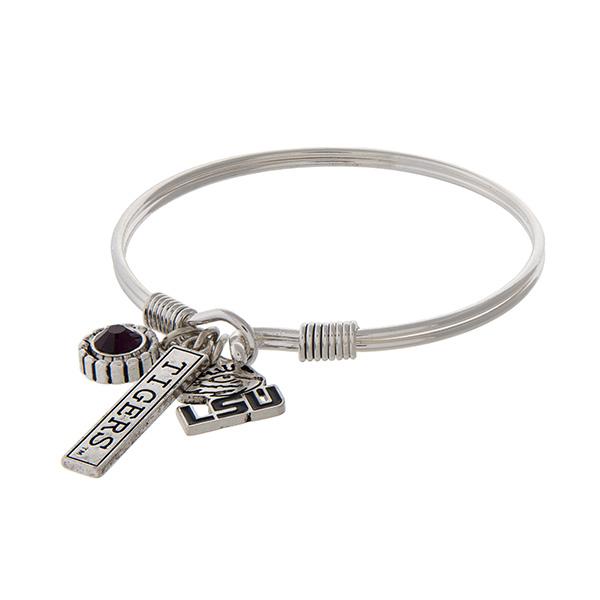 Wholesale officially licensed Louisiana State University silver bracelet purple