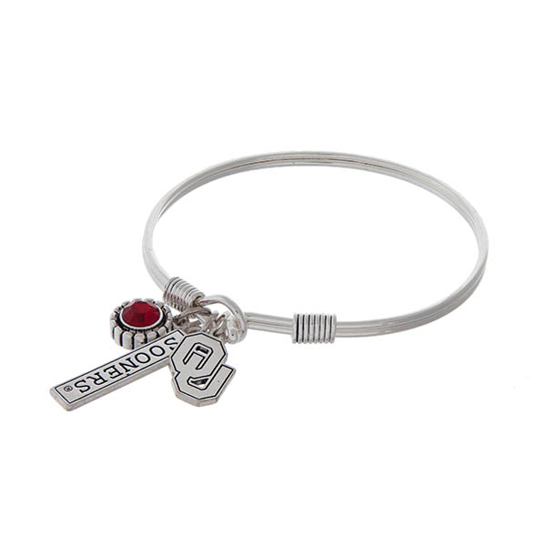 Wholesale officially licensed silver hook bracelet red rhinestone Oklahoma logo