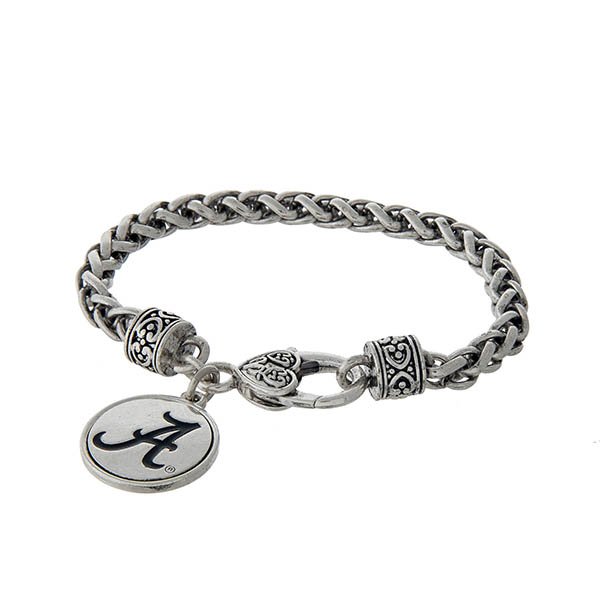 Wholesale officially licensed University Alabama silver braided bracelet lobster