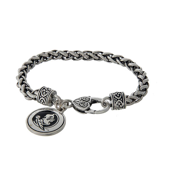 Wholesale officially licensed Florida State silver braided bracelet lobster clas