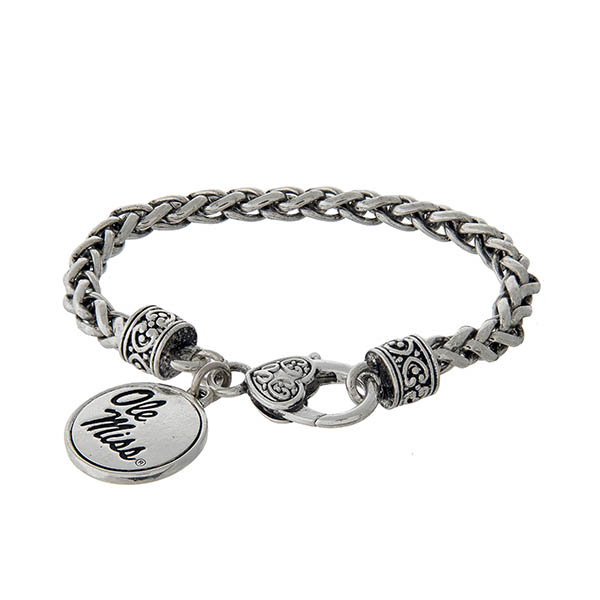 Wholesale officially licensed Ole Miss silver braided bracelet lobster clasp log