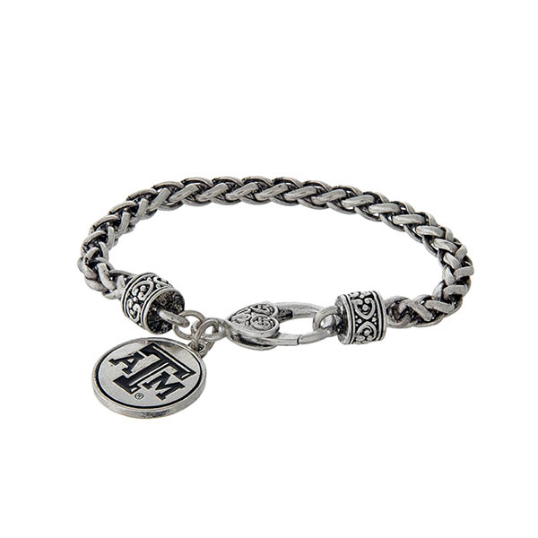 Wholesale officially licensed Texas M University silver braided bracelet lobster