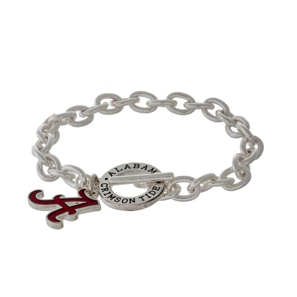 Wholesale silver officially licensed University Alabama toggle bracelet logo cha