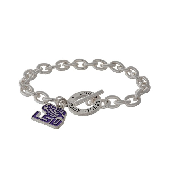 Wholesale silver officially licensed LSU toggle bracelet logo charm