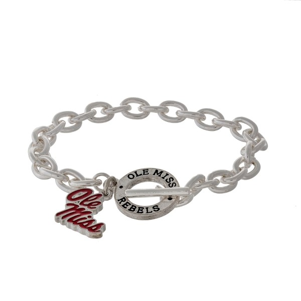 Wholesale silver officially licensed Ole Miss toggle bracelet logo charm