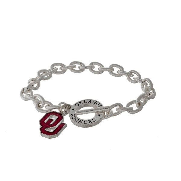 Wholesale silver officially licensed University Oklahoma toggle bracelet logo ch