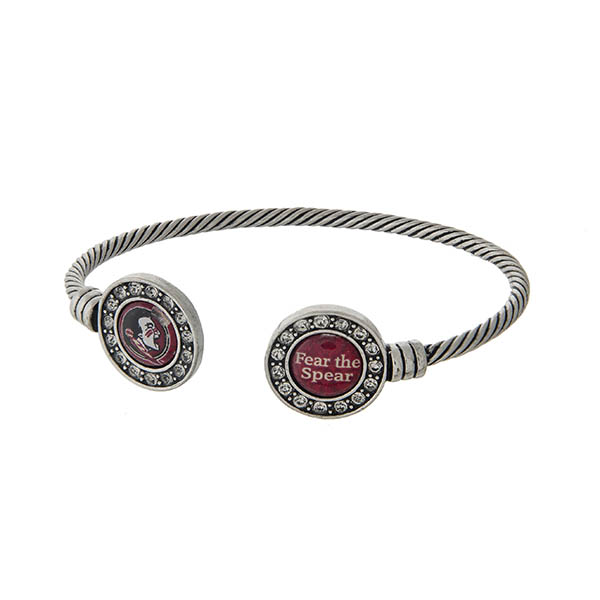 Wholesale officially licensed Florida State University silver open cuff bracelet