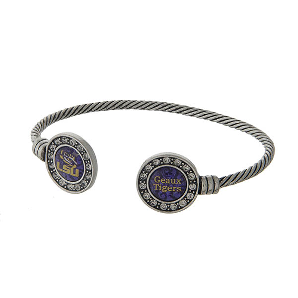 Wholesale officially licensed LSU silver open cuff bracelet