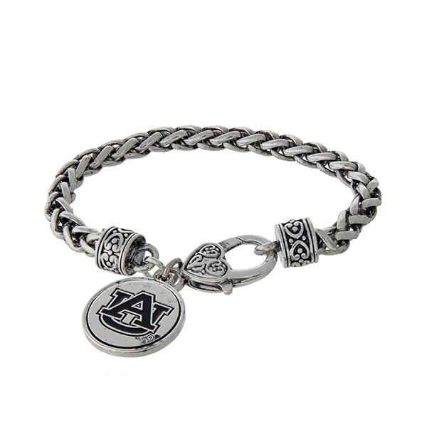 Wholesale officially licensed Auburn University silver braided bracelet lobster