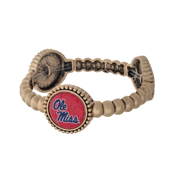 Wholesale officially licensed gold Ole Miss stretch bracelet three stations own