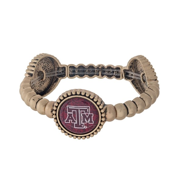 Wholesale officially licensed gold Texas M University stretch bracelet three sta