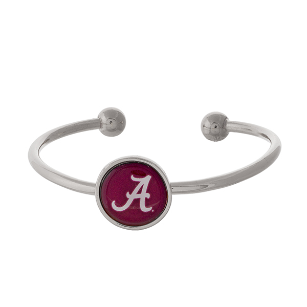 Wholesale officially licensed silver cuff bracelet University Alabama logo