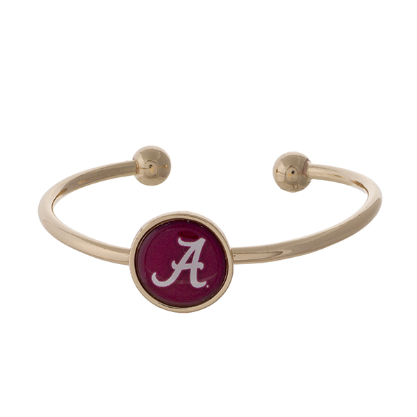 Wholesale officially licensed gold cuff bracelet University Alabama logo