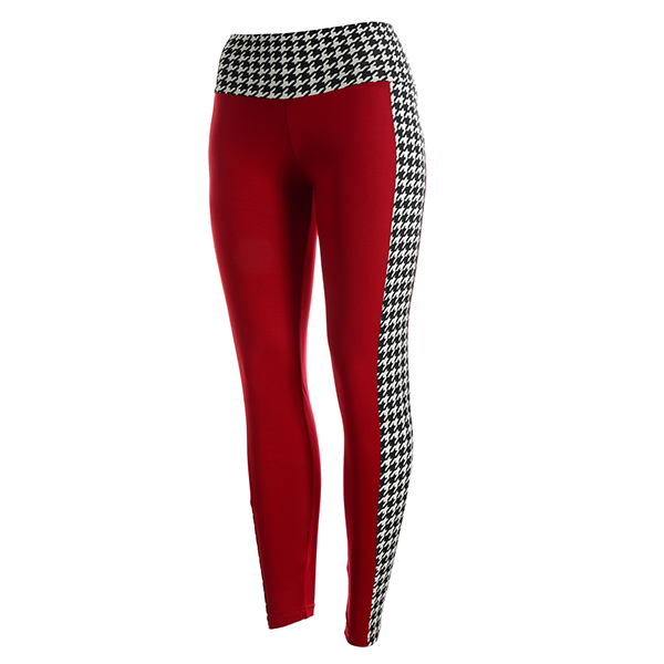 Wholesale crimson houndstooth leggings Made polyester Spandex blend One fits mos