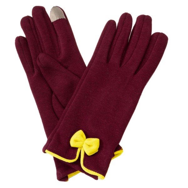 Wholesale maroon touchscreen gloves yellow bow Cotton acrylic One fits most