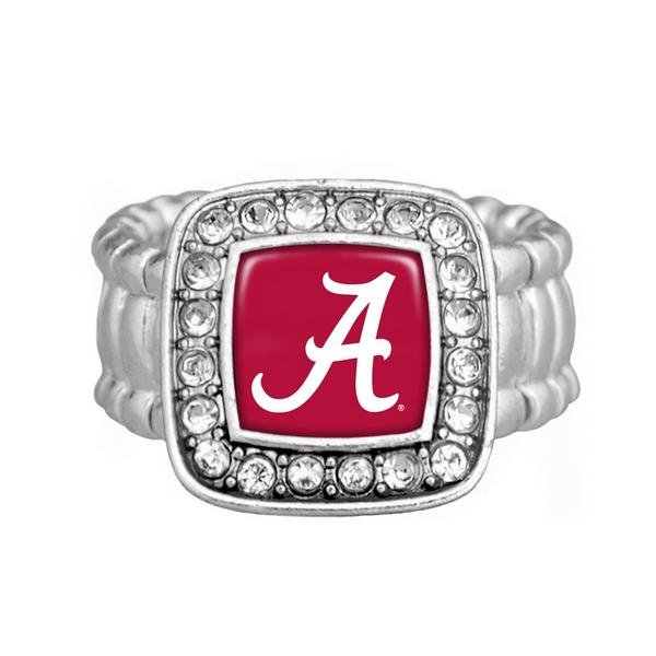 Wholesale silver officially licensed stretch ring square Alabama logo clear crys