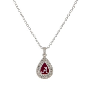 "Officially licensed 18"" Silver tone chain necklace with a small teardrop design surrounded by crystal rhinestones featuring the Alabama logo."