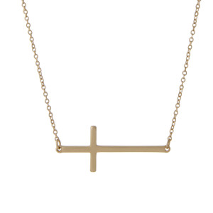 "Matte gold tone chain necklace with a 1.5"" horizontal cross pendant. Approximate 16"" in length."