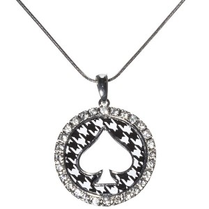 20 inch silver toned necklace with a 1.75 inch round houndstooth pendant with a spade and surrounded by a row of crystal rhinestones