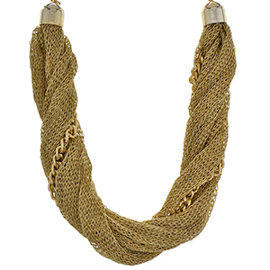 "22"" Gold tone necklace featuring a chain link and mesh style focal. Matching bracelet available."