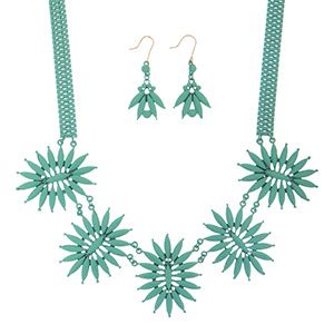 "18"" Mint coated necklace featuring a floral style focal with matching 2"" fishhook style earrings."