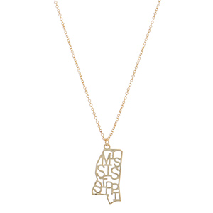 Gold tone necklace featuring Mississippi state pendant.