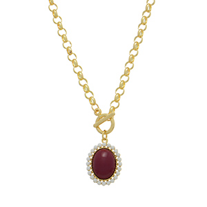 "20"" gold tone chain link toggle necklace featuring a 1"" Texas A & M and Mississippi State colored pendant"