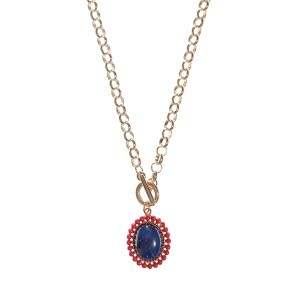 "20"" gold tone chain link toggle necklace featuring a 1"" Ole Miss colored pendant"