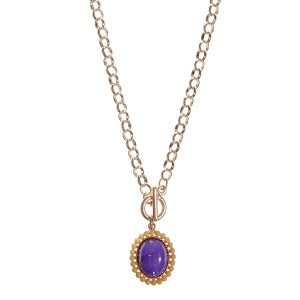 "20"" gold tone chain link toggle necklace featuring a 1"" LSU colored pendant"