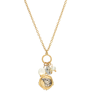"16"" Gold tone necklace featuring a mixed metal eagle stamped pendant, #1 engraved charm, and ivory pearl cluster."