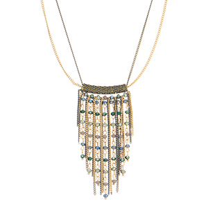 "Gold tone double strand necklace featuring one grey strand and fringes with blue, grey, and green beads. Approximately 26"" in length."