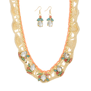 "Gold tone necklace set featuring ivory and peach crochet yarn with clear teardrop shaped cabochons surrounded by pink, green, and blue stones with the matching 1 1/2"" earrings. Approximately 15"" in length."