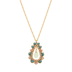 "Gold tone necklace featuring a blue, pink, and citrine beaded pendant with a dangling mint green stone accent. Approximately 30"" in length."