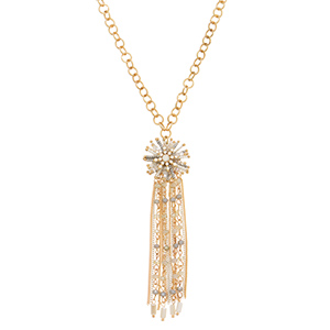 "Gold tone necklace featuring a clear and gray seed bead pendant with metal and glass bead fringe decor. Approximately 30"" in length."