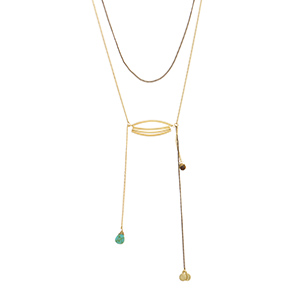 "Gold tone layering necklace featuring a dainty metal casting with hanging brown and turquoise stone. Approximately 28"" in length."