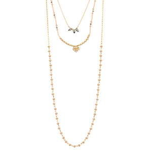 "Gold tone layering necklace featuring pink seed beads with gray bead accents, faux ivory pearls, and ivory beads. Approximately 34"" in length."