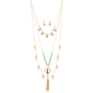 "Gold tone layering necklace set featuring turquoise and mint green beads with metal disk, a hanging iridescent stone, metal fringe, and a metal tassel accent. Approximately 30"" in length."