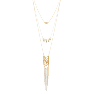 "Gold tone layering necklace set featuring a white chain with a clear stone, faux pearls, a chevron casting and metal fringe. Approximately 29"" in length."