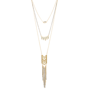 "Gold tone layering necklace set featuring a black chain with a clear stone,faux pearls, a chevron casting and metal fringe. Approximately 29"" in length."