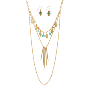"Gold tone layering necklace set featuring turquoise chipstone and metal sticks. Approximately 20"" in length."