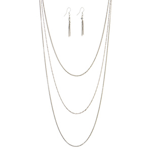 "Silver tone layering necklace set with matching tassel earrings. Approximately 36"" in length."